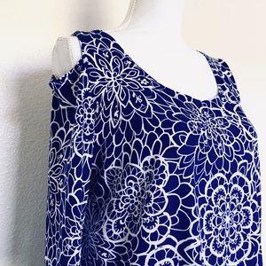 Clara Sun Woo open shoulder tunic floral blouse